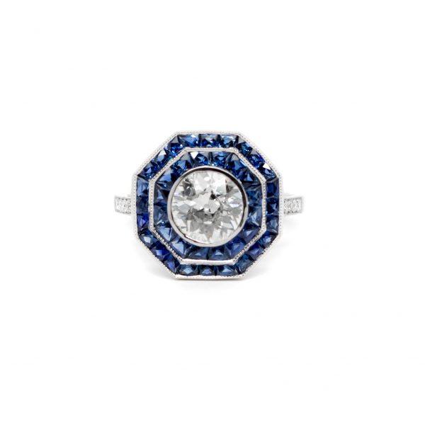 , Diamond & Sapphire Platinium Ring