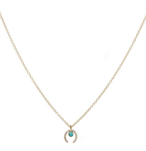 , Diamond Horseshoe Turq Drop Necklace