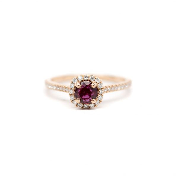 , S. Kashi Ruby Halo Ring