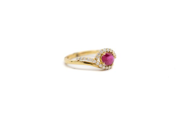 , Yellow Gold Swirl Ruby Cocktail Ring