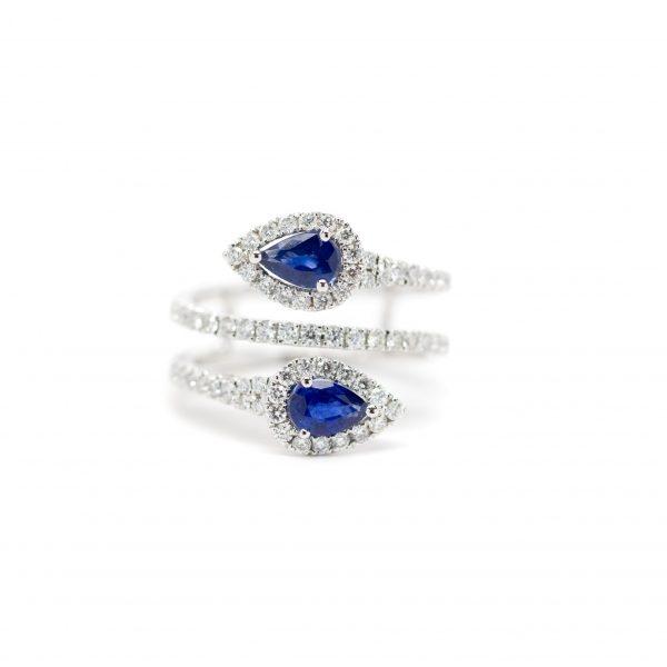 , Serpentine Sapphire + Diamond Cocktail Ring