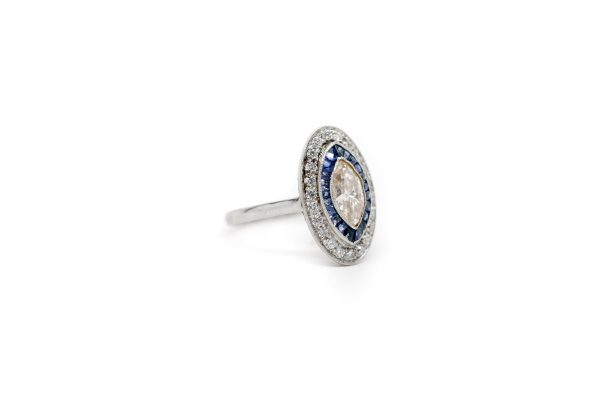 , Antique Marquise Fancy Color Diamond & Sapphire Ring