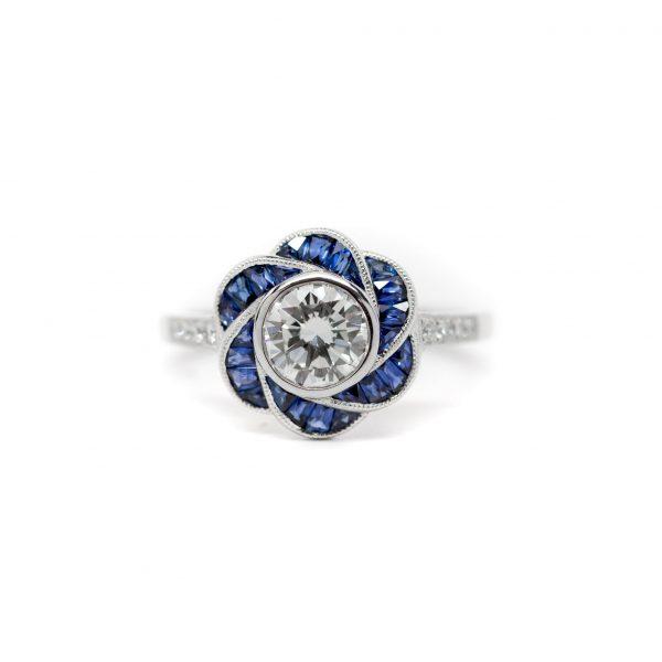 , Art Deco Style Flower Ring