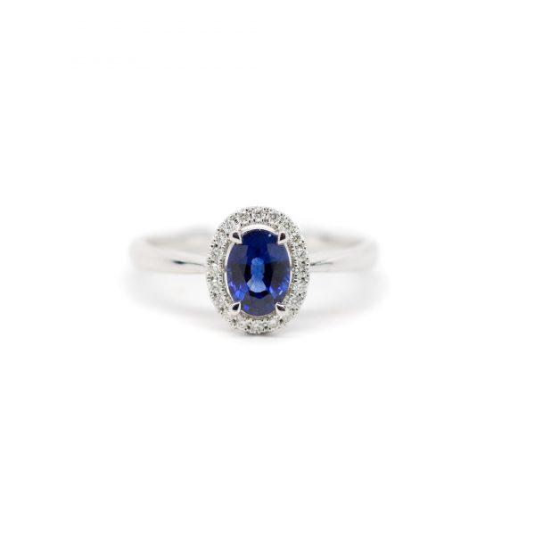 , Sapphire Halo Ring