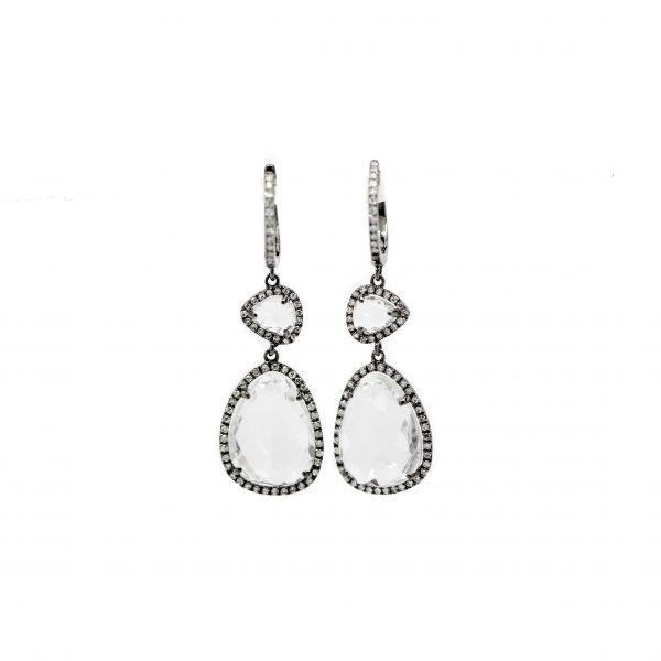 , Dilamani White Topaz + Diamond Dangle Earrings