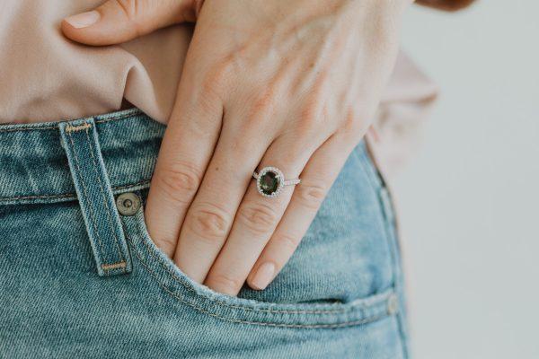 , Green Sapphire + Diamond Ring