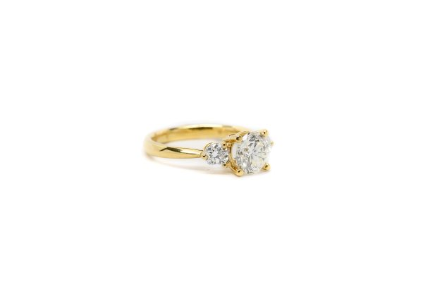 , Three Stone Engagement in Yellow Gold
