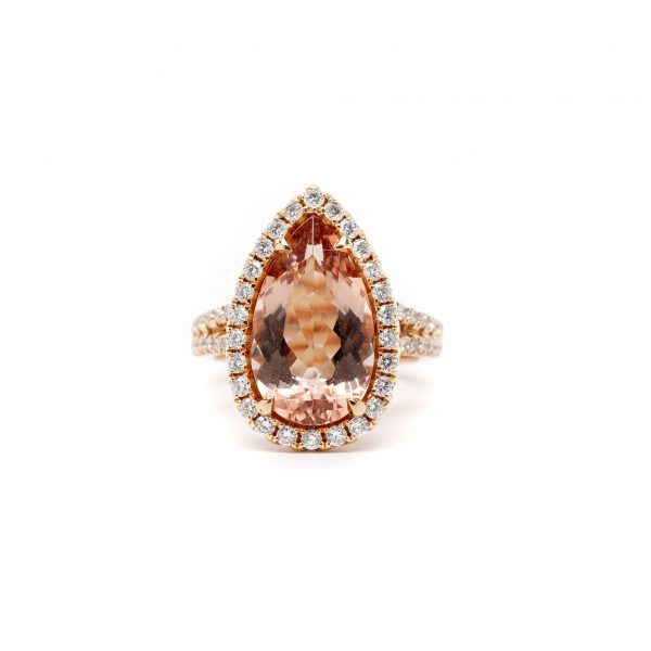 , Large Halo Pear Morganite Cocktail Ring