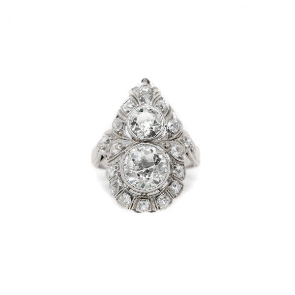 , Edwardian Platinum Diamond Dinner Ring