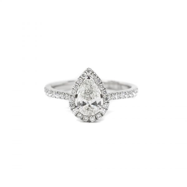 , Pear Shaped Halo Engagement Ring