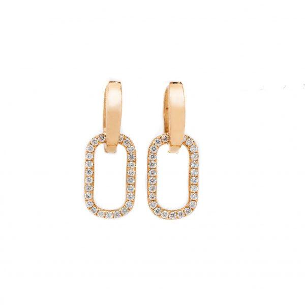 , Rectangle Diamond Drop Earrings