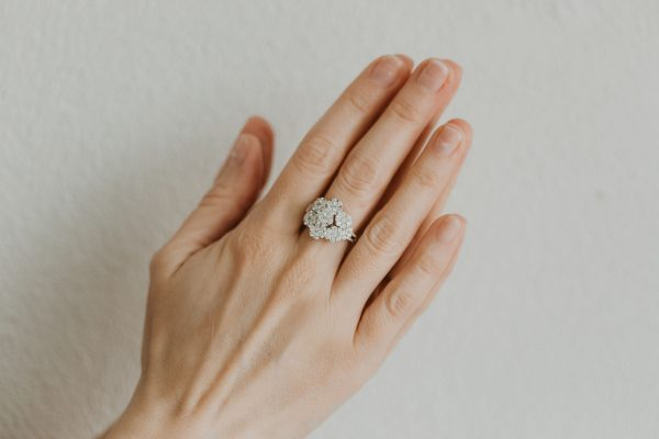 , Pave Flower Right Hand Ring