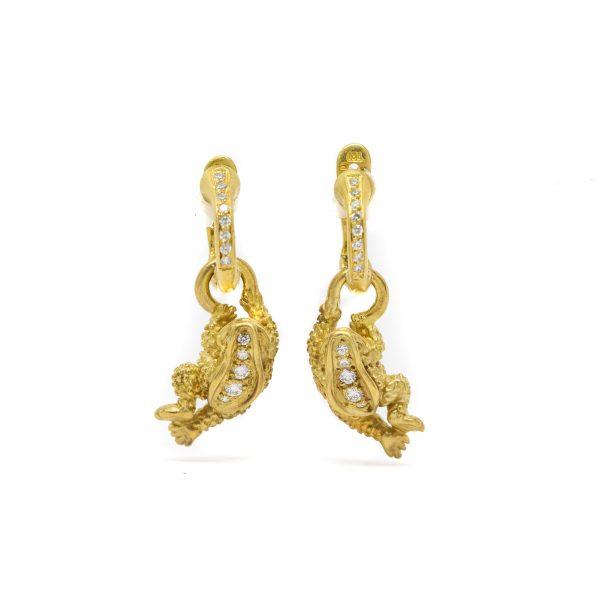 , Barry Kieselstein Cord Estate Diamond Frog Earrings