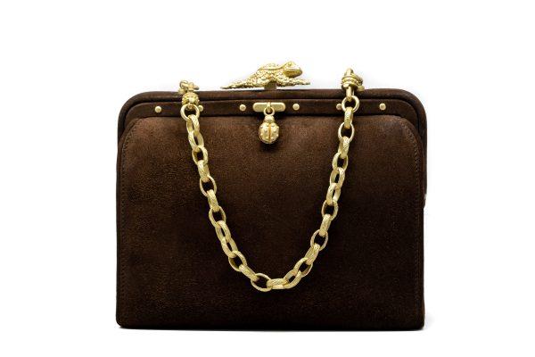 , Barry Kieselstein Brown Suede Handbag