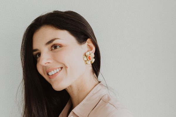 , Clip on Coral Diamond Earrings