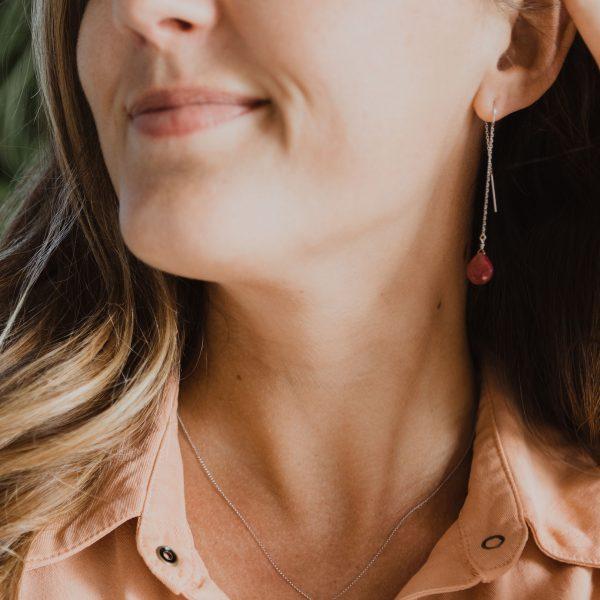 , Ruby Threader Earrings