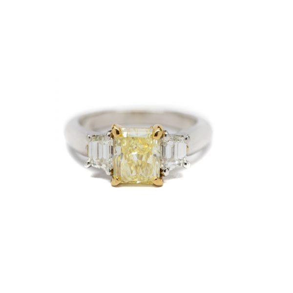 , Yellow Diamond 3 Stone Engagement Ring