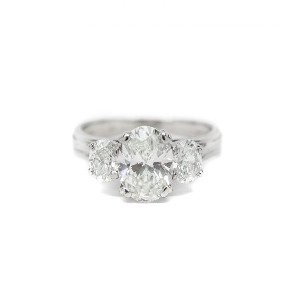 , Oval Three Stone Engagement Ring