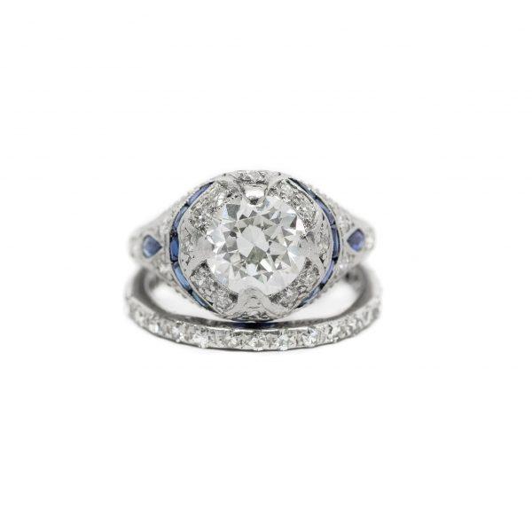, Diamond & Sapphire Engagement Ring