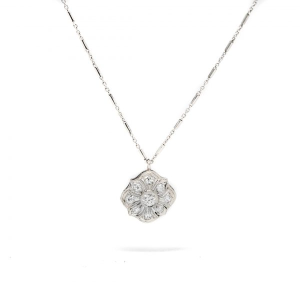 , Platinum Diamond Pendant Necklace