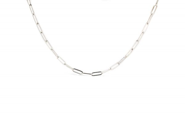 , Silver Paperclip Necklace