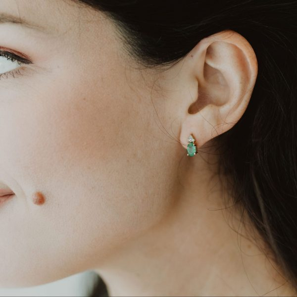 , Diamond Emerald Studs