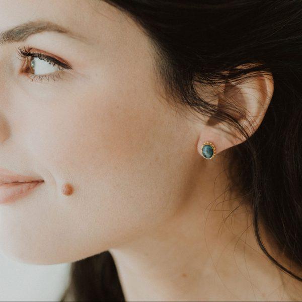 , Sapphire Oval Stud Earrings