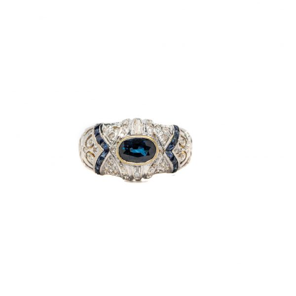 , Estate Diamond & Sapphire Ring