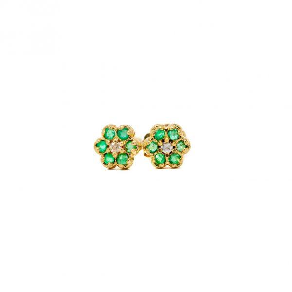 , Emerald Flower Stud Earrings