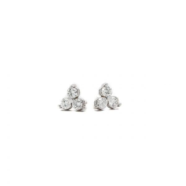 , Three Stone Diamond Studs