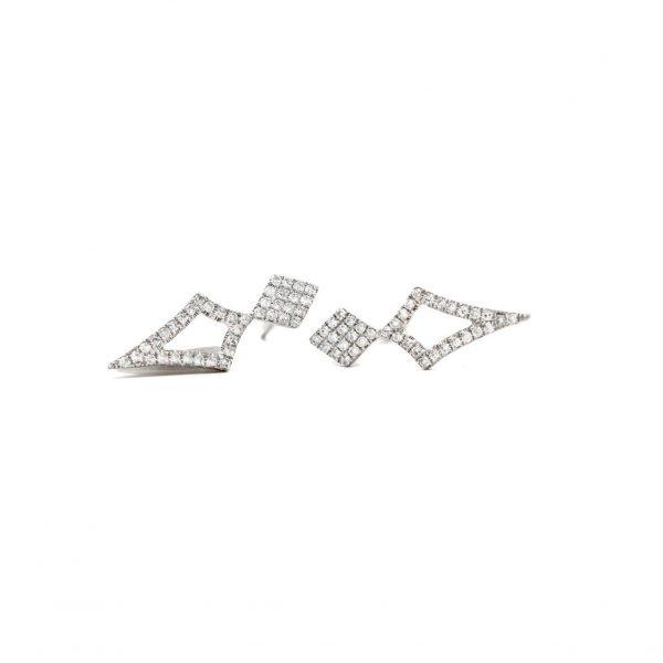 , Diamond Accented Geometric Earrings