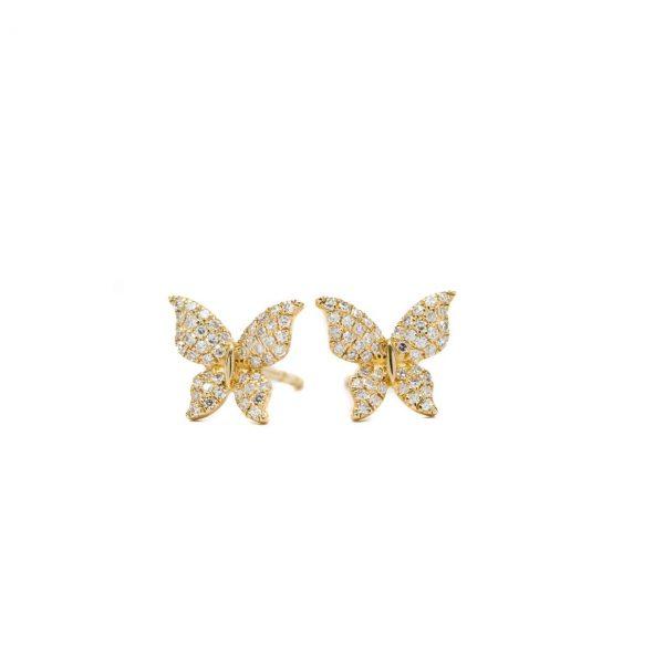 , Diamond Butterfly Studs