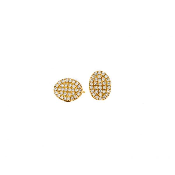 , Pave Diamond Oval Studs