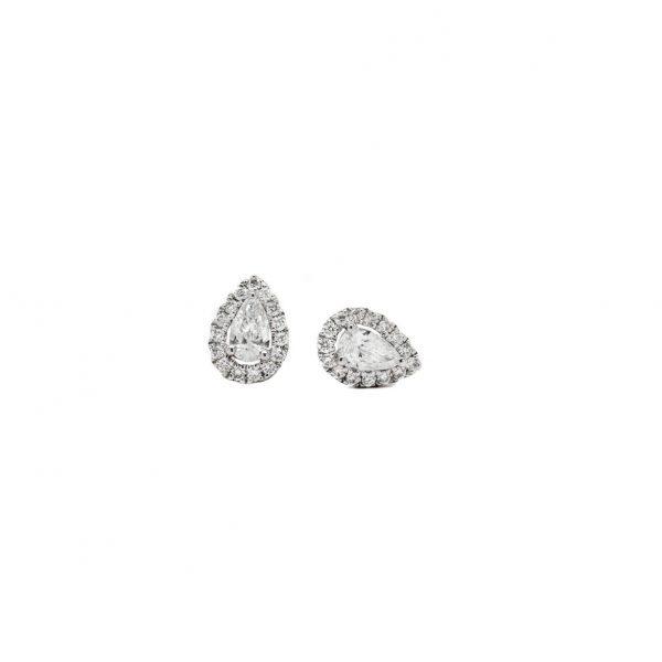 , Diamond Pear Halo Earrings