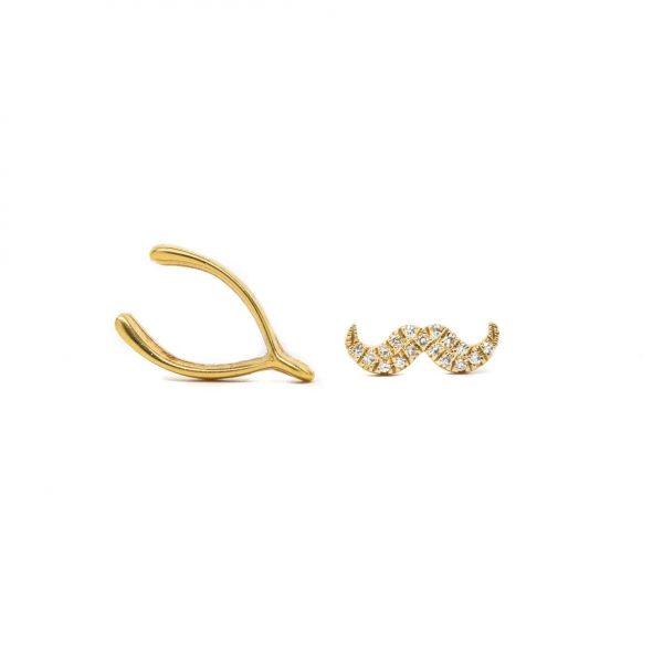 , Diamond Mustache Earrings