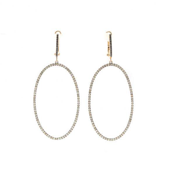 , Diamond Oval Dangle Earrings