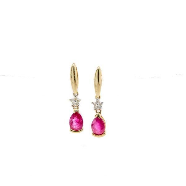 , Ruby Diamond Dangle Earrings