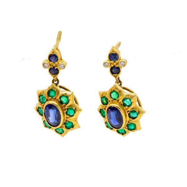 , Sapphire Emerald Earrings