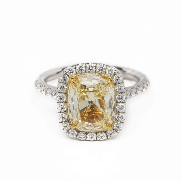 , 3.01 CT Fancy Yellow Halo Engagement Ring