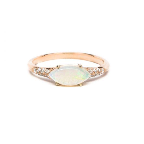 , 0.14 CT Diamond Opal Ring