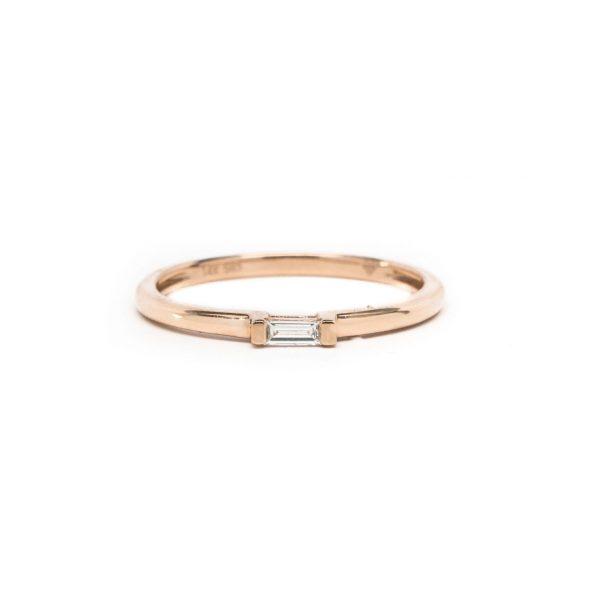 , Rose Gold Baguette Diamond Ring