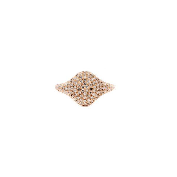 , Diamond Pave Oval Pinky Ring
