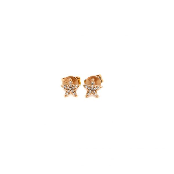 , Diamond Star Stud Earrings in Rose Gold