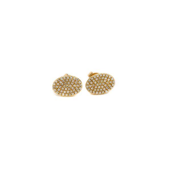 , Diamond Oval Stud Earrings