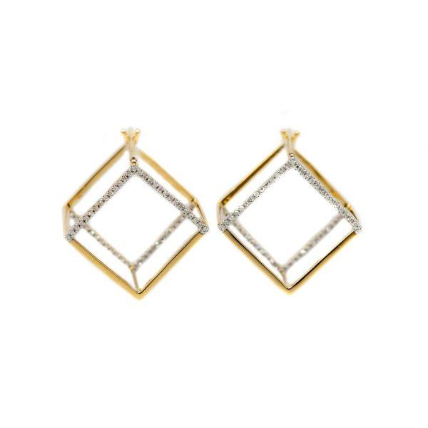 , Diamond Cube Earrings