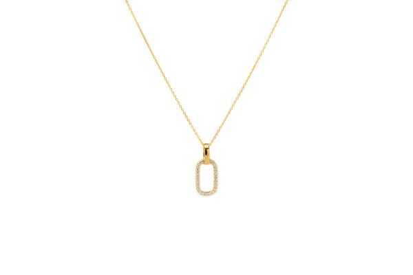 , Diamond Oval Hoop Necklace