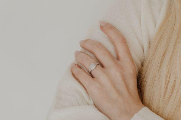 , Diamond Pave Cushion Ring