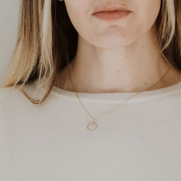 , Diamond Circle + Bar Necklace