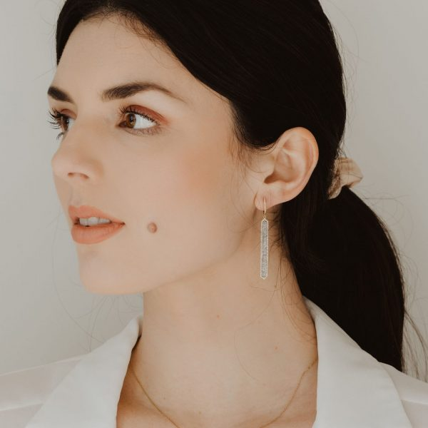 , Diamond Bar Earrings