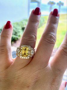 Annie's custom engagement on her finger